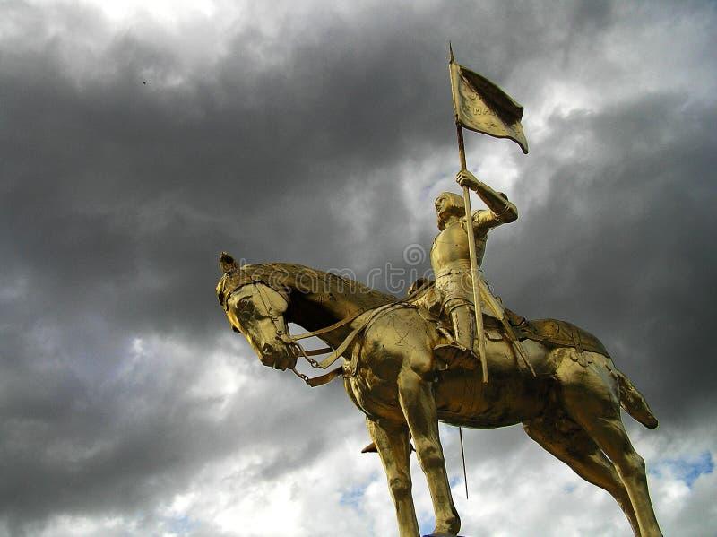 Statue d'or de sculpture en Jeanne d'Arc image libre de droits