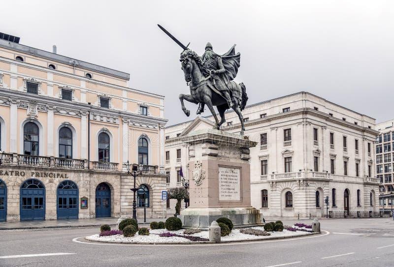 Statue d'El Cid à Burgos, Espagne photographie stock libre de droits