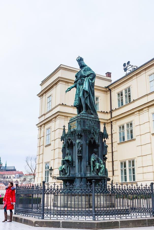Statue d'empereur Charles IV, Roman Emperor saint et roi o photo libre de droits
