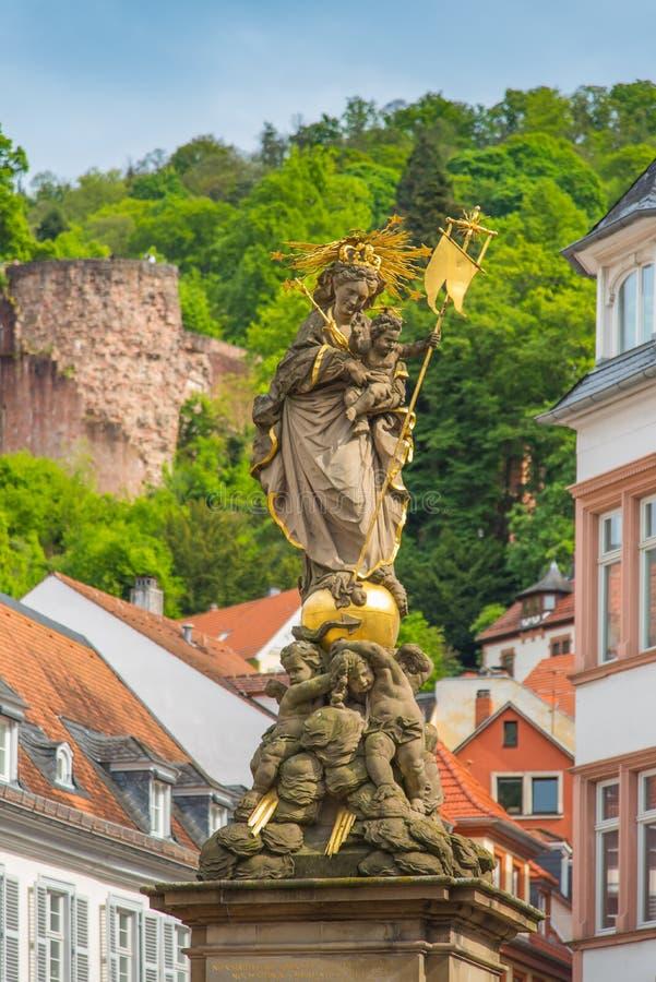 Statue d'Heidelberg dans la vieille ville image libre de droits
