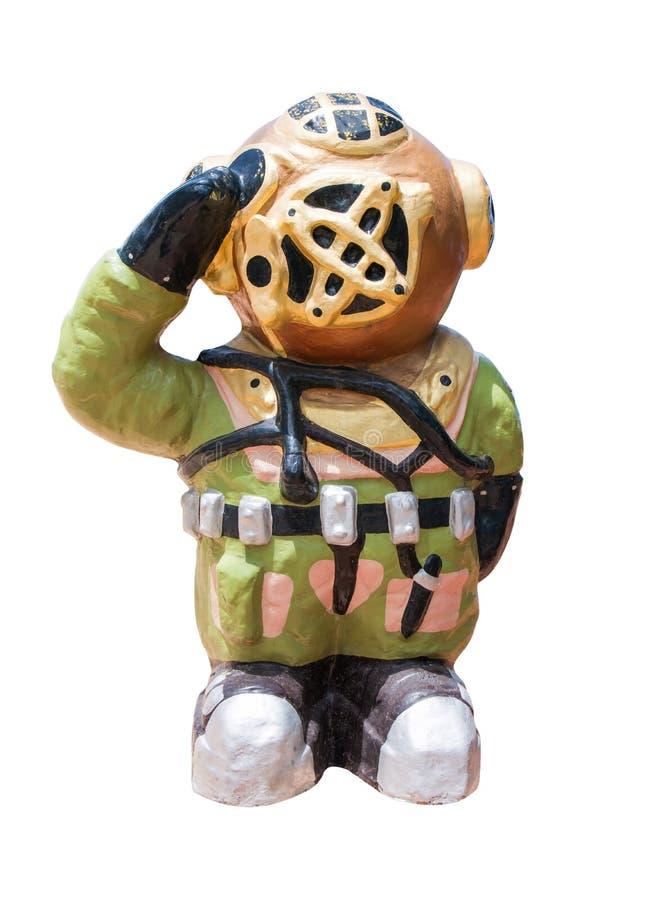 Statue d'homme-grenouille avec le salut de main d'isolement sur le fond blanc photo stock