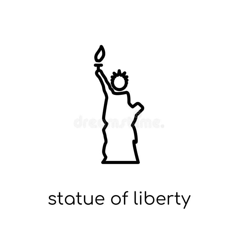 Statue d'icône de liberté Statue linéaire plate moderne à la mode de vecteur illustration libre de droits