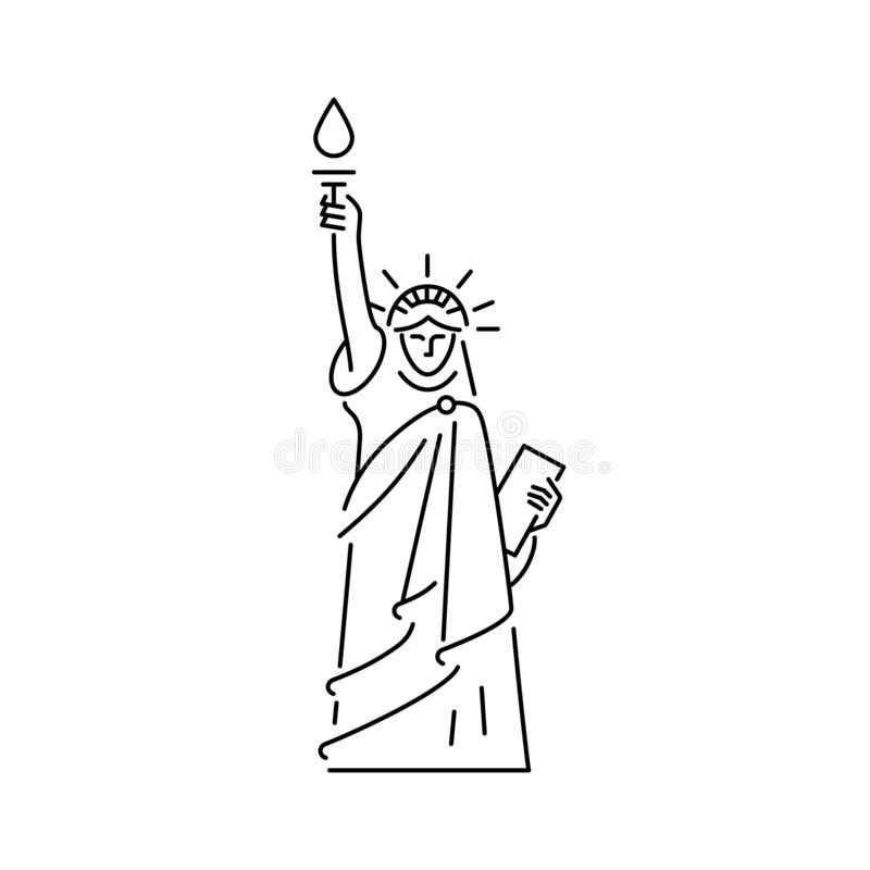 Statue d'icône de liberté Symbole des Etats-Unis d'Amérique Conception de schéma, illustration de vecteur illustration libre de droits