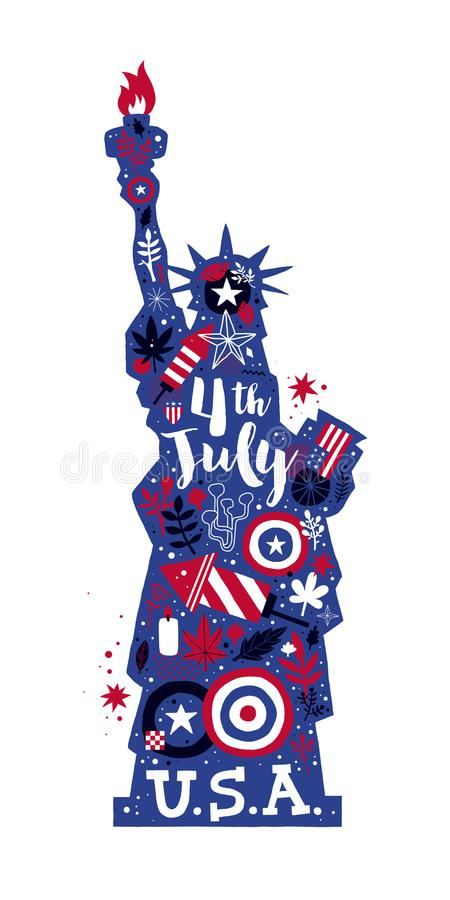 Statue d'illustration de liberté avec les éléments floraux et patriotiques abstraits 4 juillet calibre de vecteur de Jour de la D illustration stock