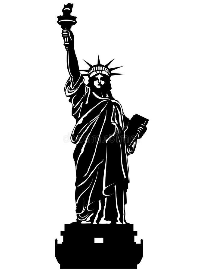 Statue d'illustration noire et blanche de liberté illustration libre de droits