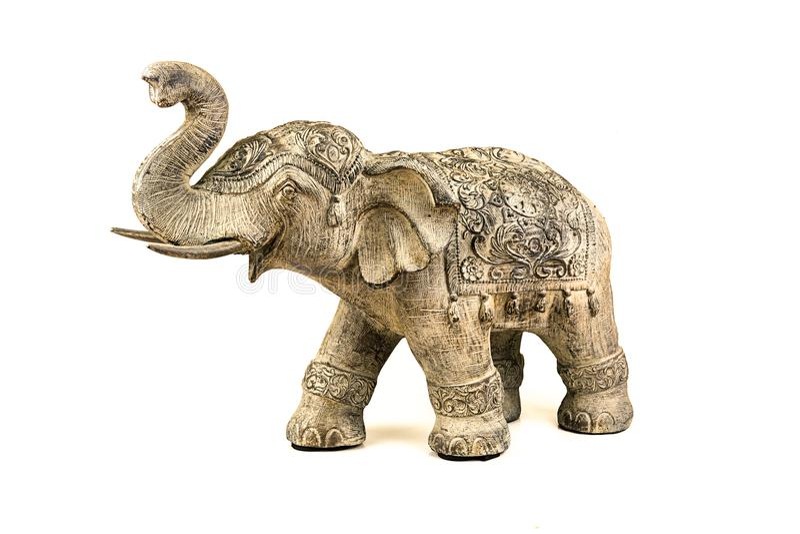 Statue d'isolement d'éléphant images libres de droits
