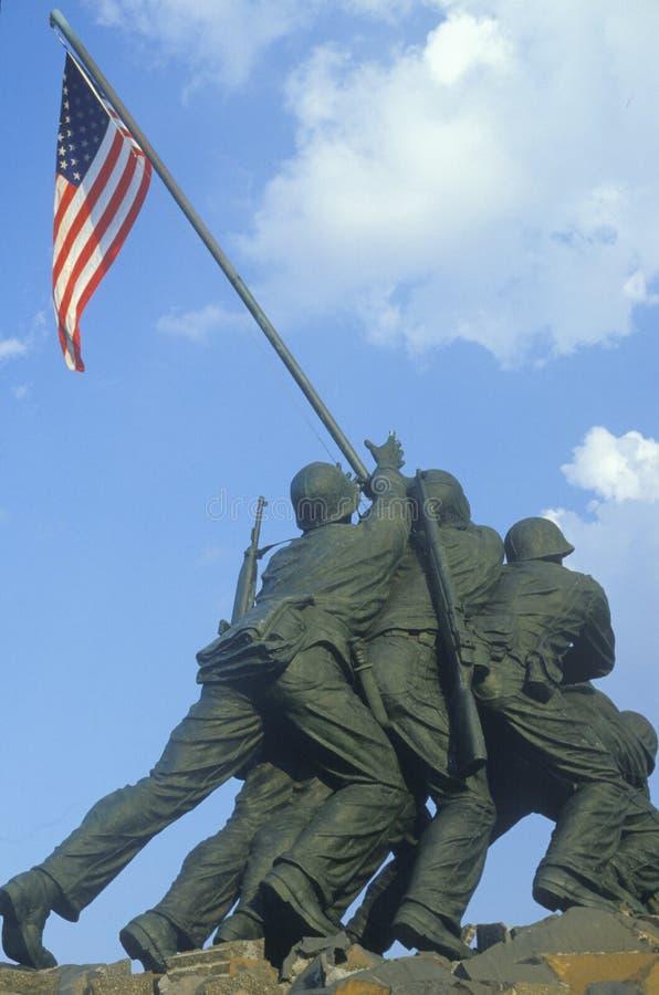 Statue d'Iwo Jima, mémorial de corps des marines des États-Unis au cimetière national d'Arlington, DC de Washington S E C image stock