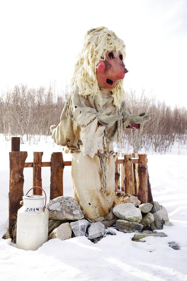 Statue d'un troll norv?gien traditionnel en Norv?ge Fin vers le haut photo libre de droits