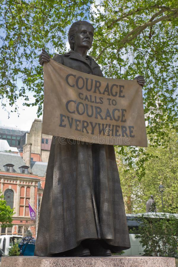 The statue of Dame Millicent Fawcett, Westminster, London, United Kingdom. The statue of Dame Millicent Fawcett, the suffragist leader and social campaigner, in stock images