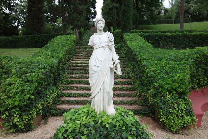 Statue dans le jardin de Sainte Clotilde dans LLoret De mars photos stock