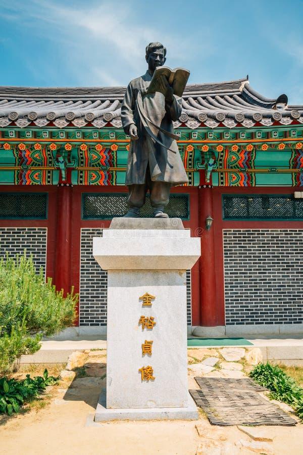 Statue dans le village littéraire de Kim vous jeong, Chuncheon, Corée photographie stock libre de droits