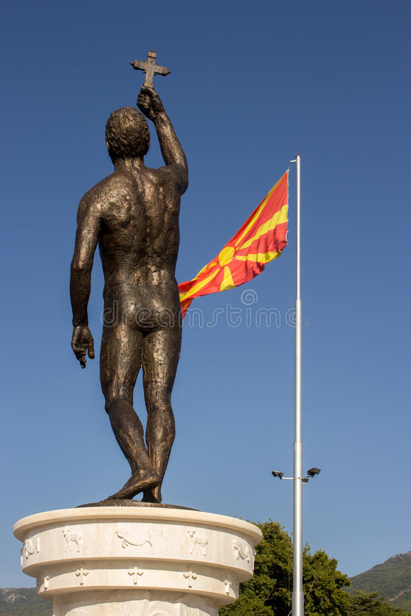 Statue dans Ohrid, Macédoine photo stock