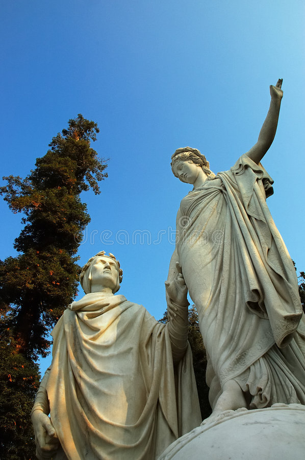 Statue of Dante. Italy's greatest poet; italian villa' private garden stock photography
