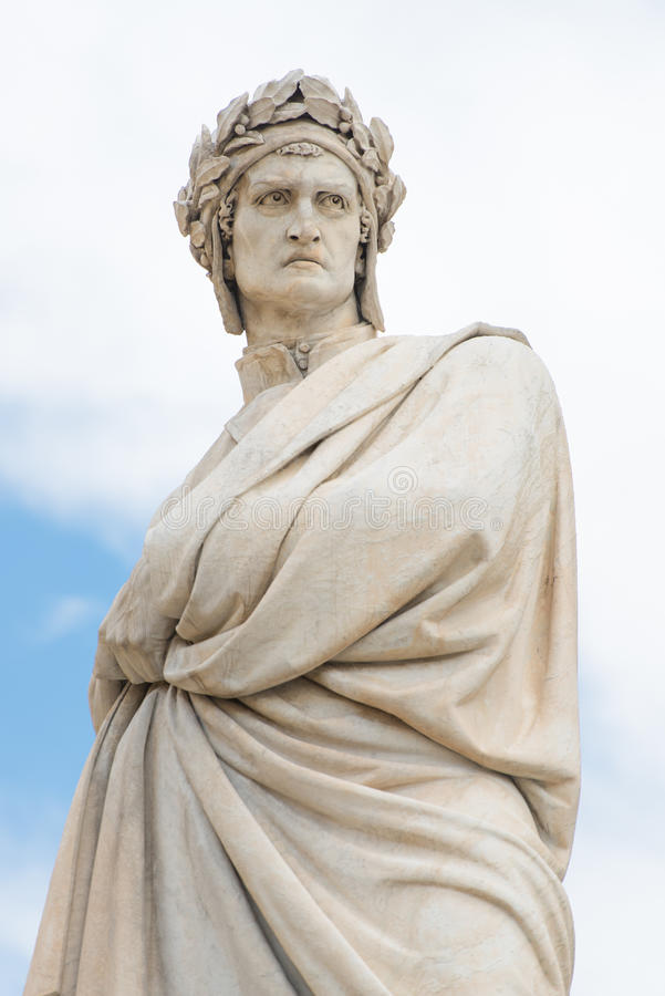 Statue of Dante Alighieri. In Florence, Italy stock photography