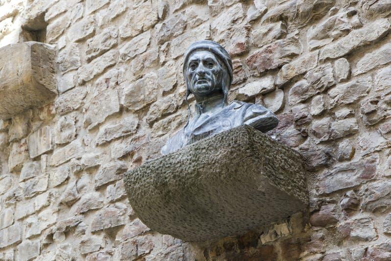 Statue of dante alighieri. House of birth stock photo