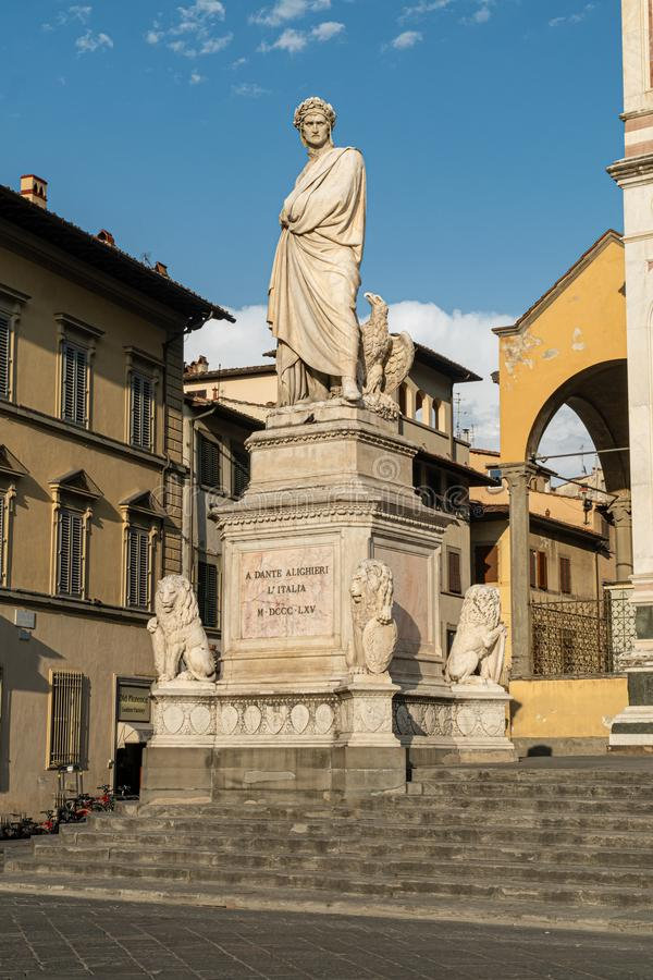 Statue of a dante in florence. On the square of the cathedrale Santa Croce royalty free stock photos