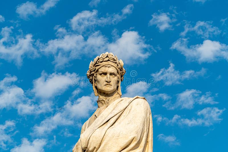 Statue of a dante in florence. On the square of the cathedrale Santa Croce stock images