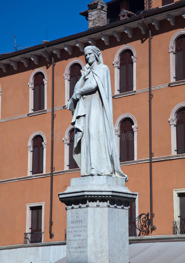 Statue of Dante in Verona. Dante statue in Piazza Signori in Verona Italy royalty free stock images