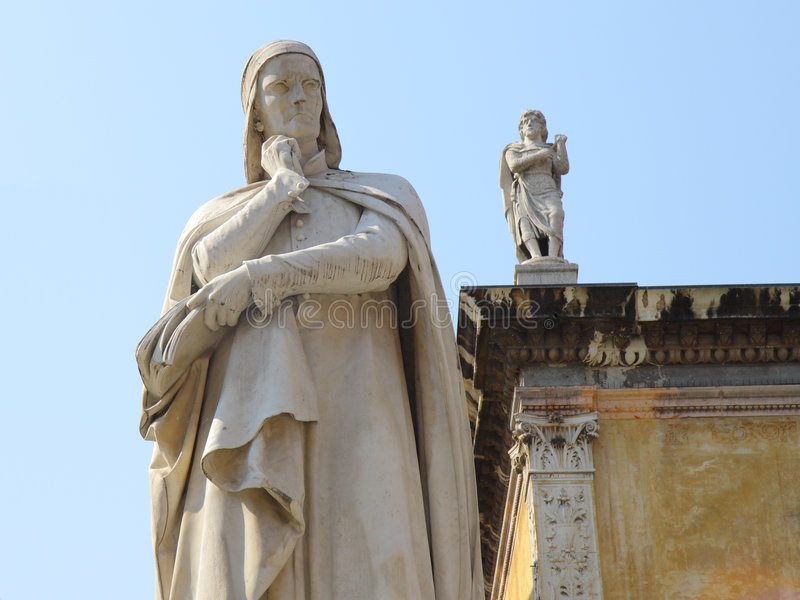 Statue of Dante in Verona. Italy stock images