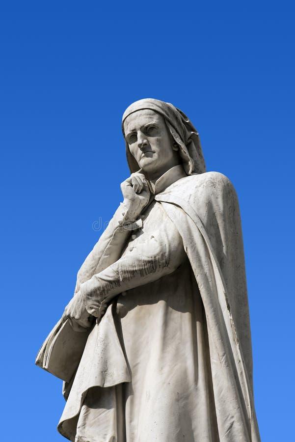 Statue of Dante in Verona - Italy. Statue of Dante Alighieri (1265-1321) father of the Italian language in Piazza dei Signori in Verona (UNESCO world heritage royalty free stock photography