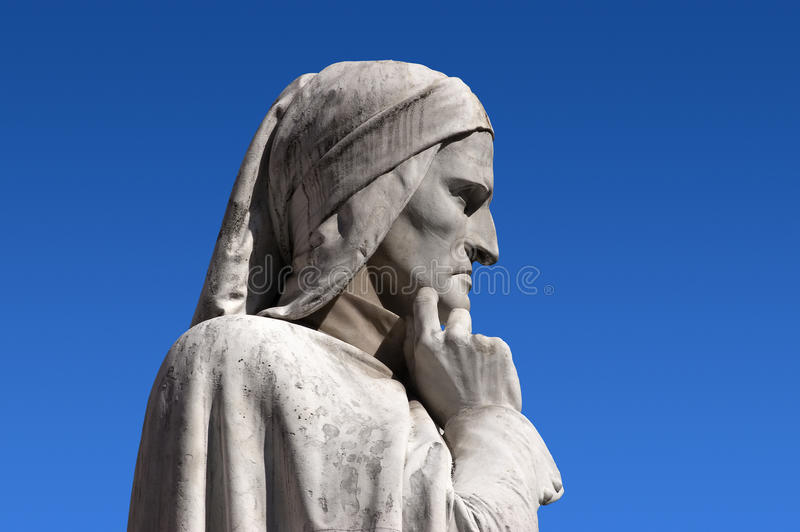 Statue of Dante Verone (Verona) Italy. Photo of a detail of the statue of Dante in Verona Italy stock image