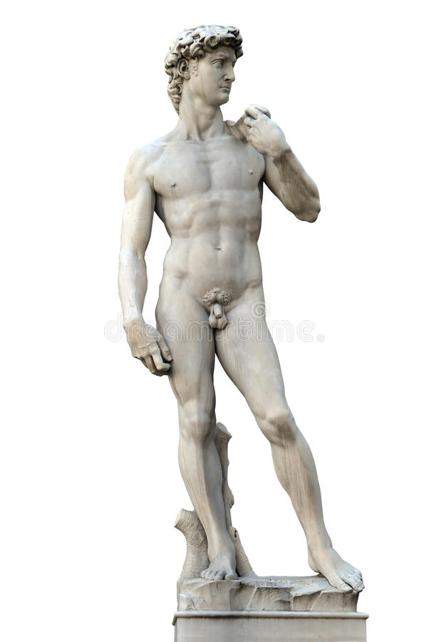 Statue of David. Isolated on white. Copy of Michelanegelo's original. Firenze, Italy royalty free stock photography