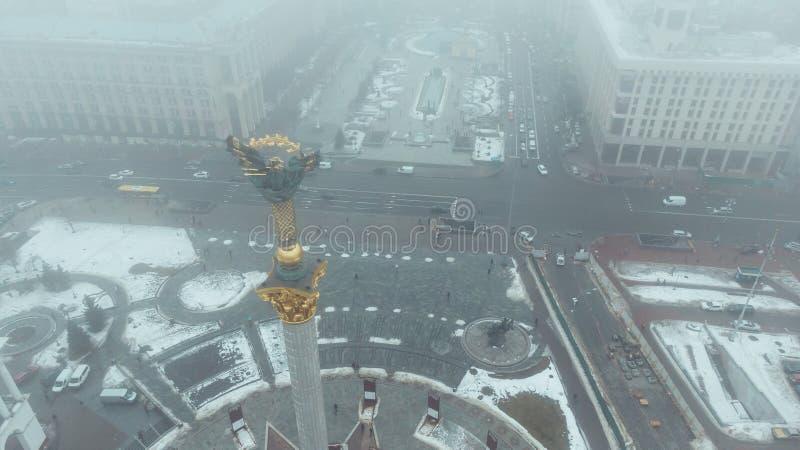 Statue de Berehynia sur le dessus du monument de l'indépendance à Kiev, Ukraine photos libres de droits