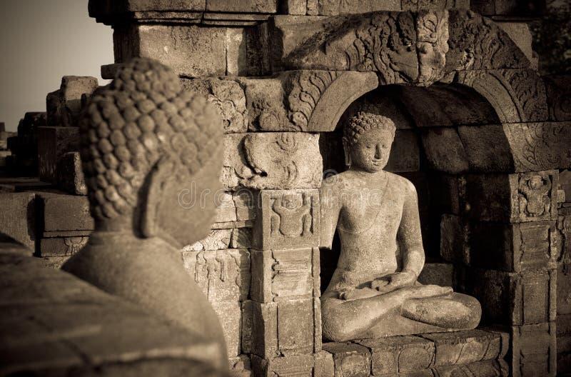 Statue de Bouddha au temple de Borobudur, Java, Indonésie photo stock