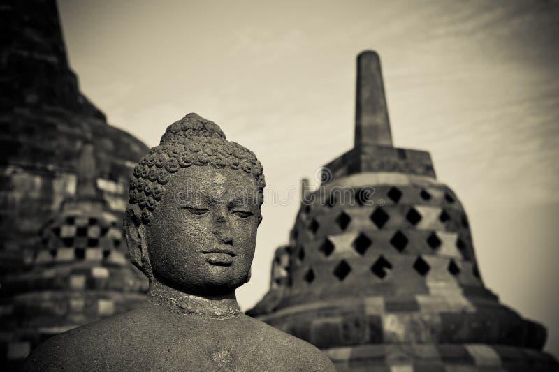 Statue de Bouddha au temple de Borobudur, Java, Indonésie image libre de droits