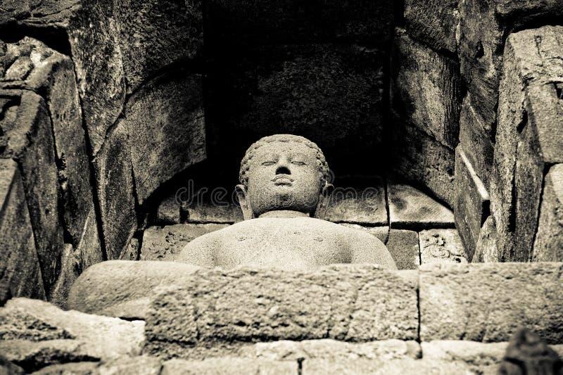 Statue de Bouddha au temple de Borobudur, Java, Indonésie photographie stock