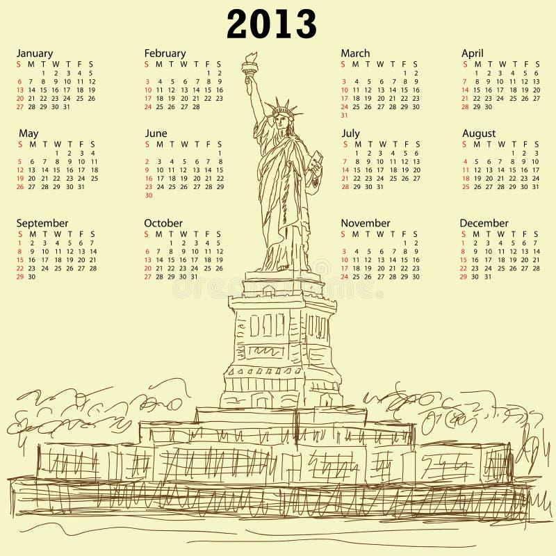 Statue de calendrier du cru 2013 de liberté illustration libre de droits
