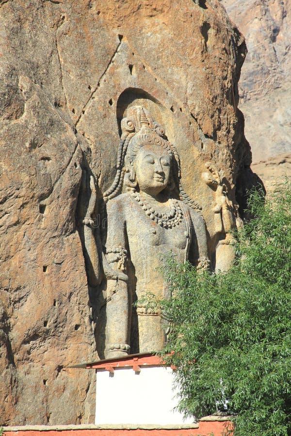 Statue de Chamba dans Mulbekh image libre de droits