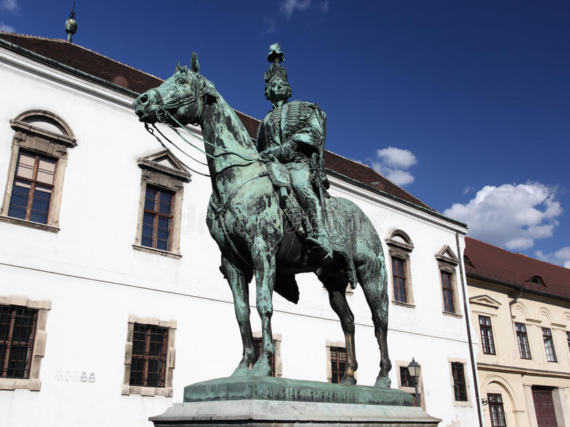 Statue de cheval d'Andras Hadik à Budapest photo stock