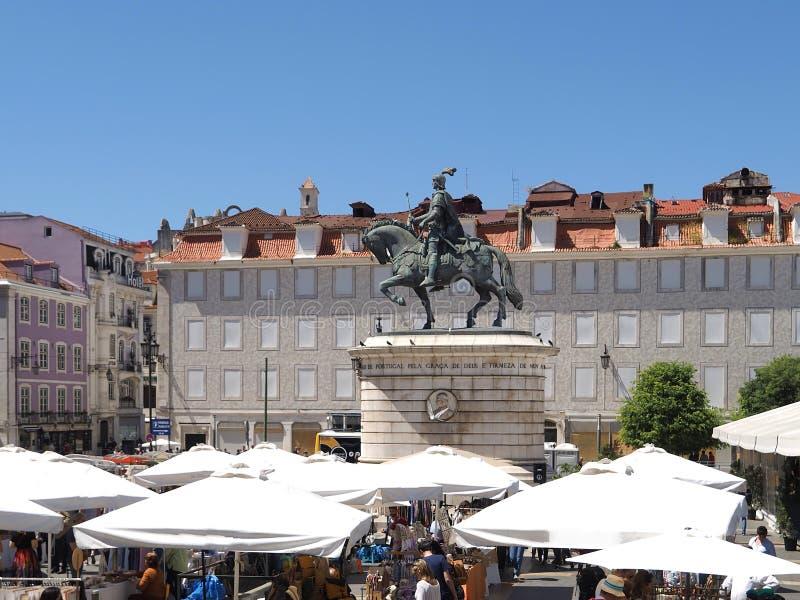 Statue de cheval de Dom Joao ? Lisbonne au Portugal photographie stock