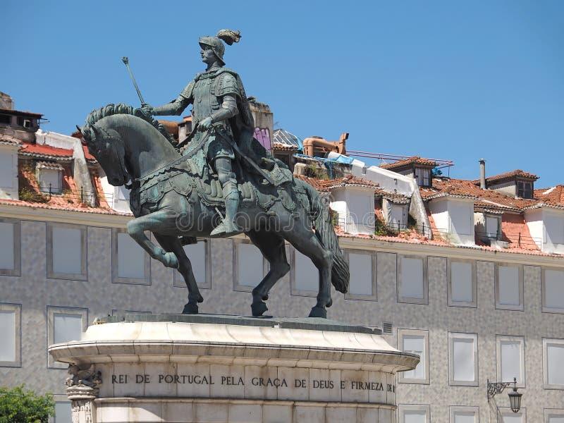 Statue de cheval de Dom Joao ? Lisbonne au Portugal photos stock