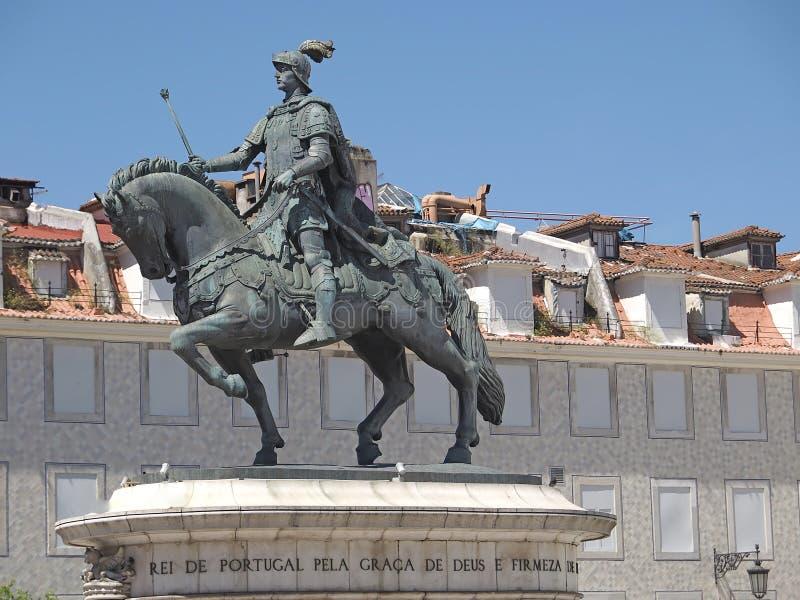 Statue de cheval de Dom Joao ? Lisbonne au Portugal images libres de droits