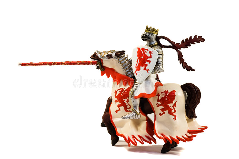 Statue de chevalier blindé de curseur avec la lance sur le cheval image libre de droits