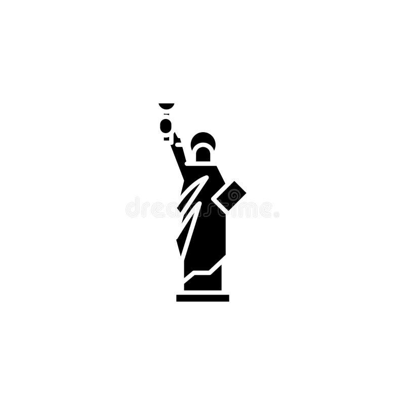 Statue de concept d'icône de noir de liberté Statue de symbole plat de vecteur de liberté, signe, illustration illustration de vecteur