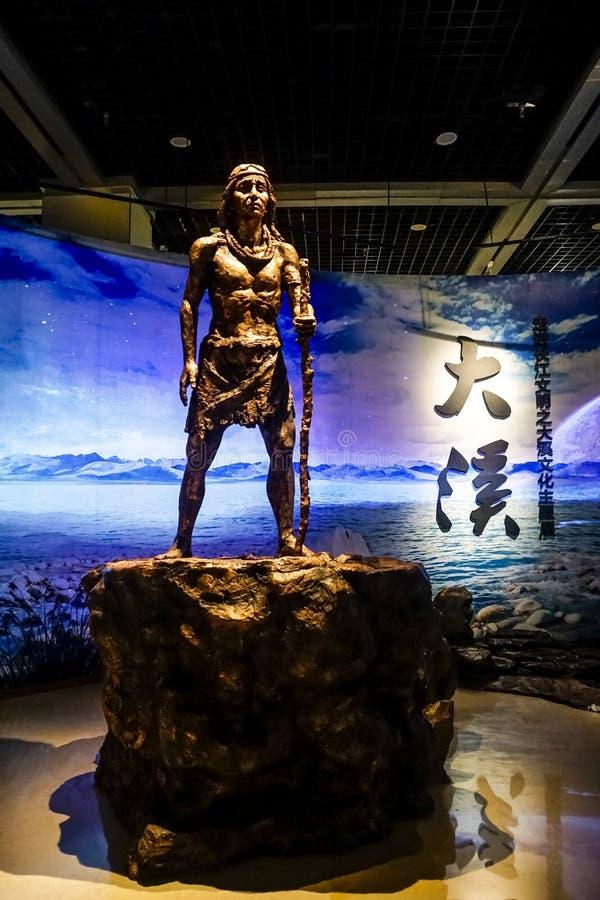 Statue de découpage en bronze dans le musée Chongqing de Three Gorges image libre de droits