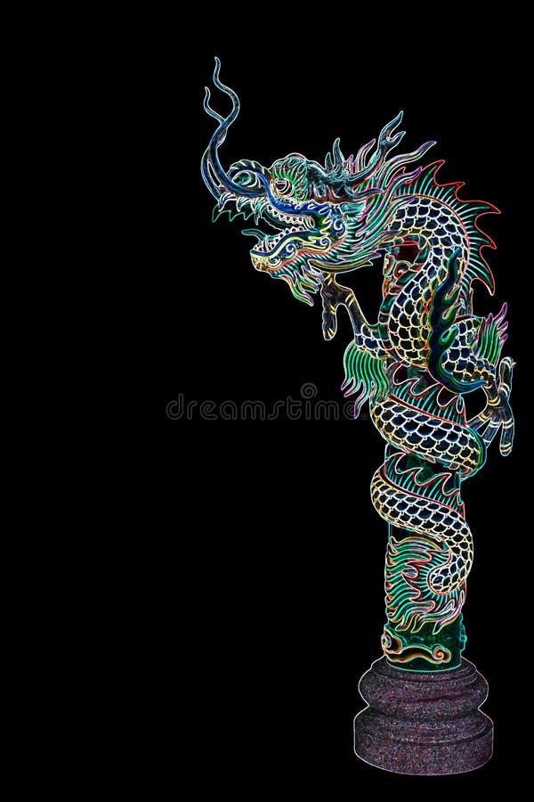Statue de dragon avec les lampes au néon illustration de vecteur