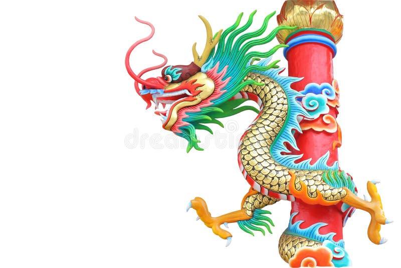 Statue de dragon d'isolement sur le fond blanc photos stock