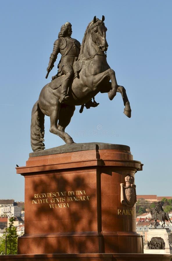 Statue de Ferenc Rakoczi à Budapest images libres de droits