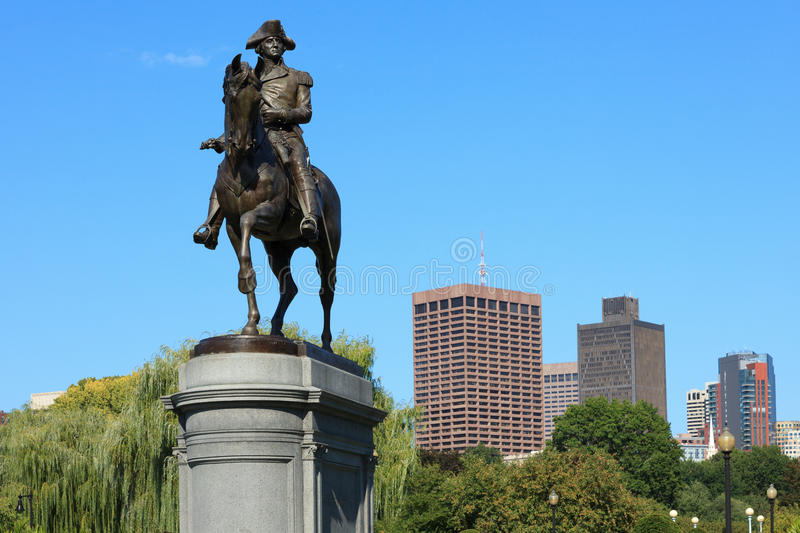 Statue de George Washington en stationnement de terrain communal de Boston photographie stock libre de droits