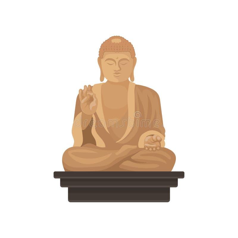 Statue de grand Bouddha Monument historique célèbre de Taïwan Symbole religieux Vecteur plat pour la carte, l'affiche de voyage o illustration stock