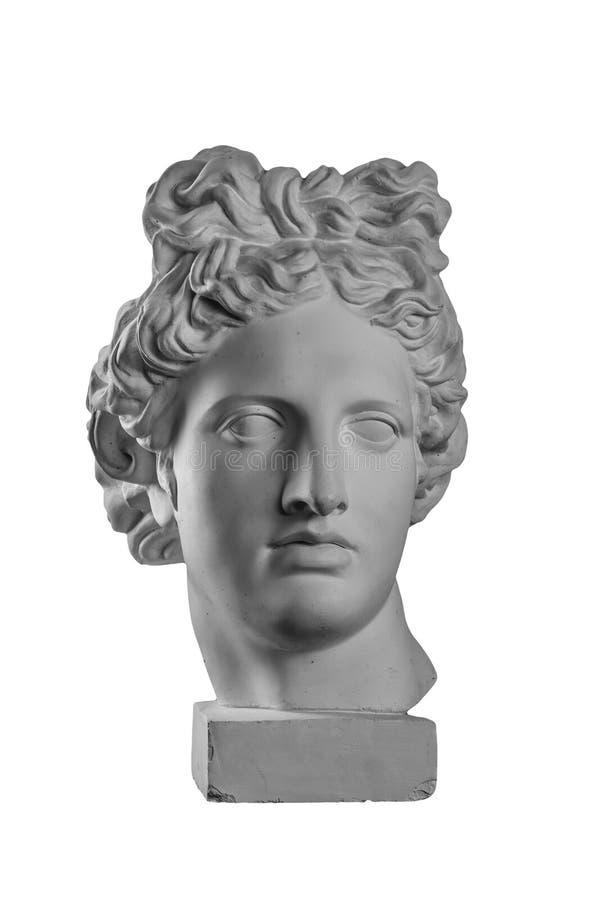 Statue de gypse de tête du ` s d'Apollo photographie stock