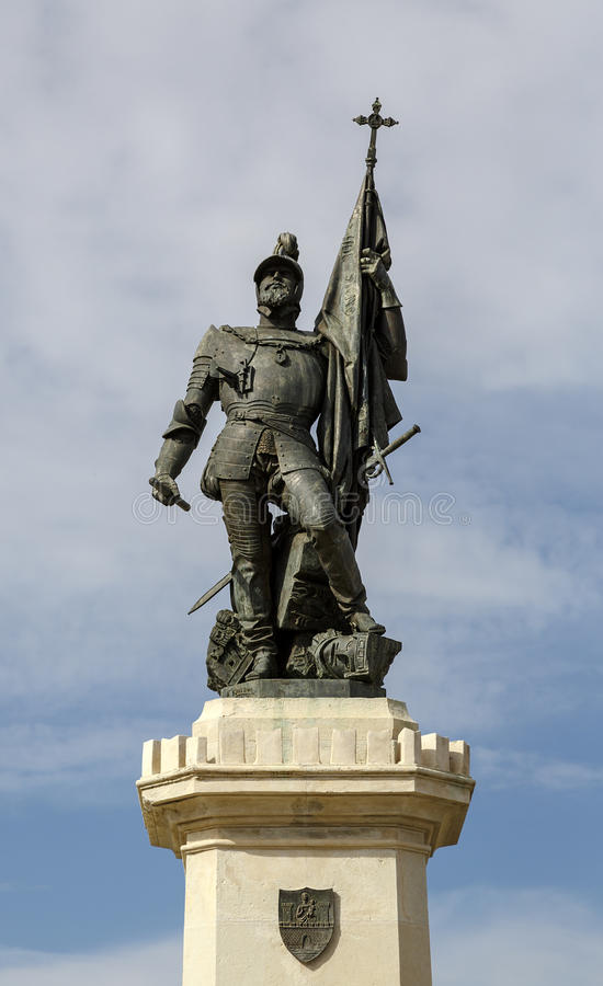 Statue de Hernan Cortes, conquérant du Mexique, Medellin, Espagne photographie stock libre de droits