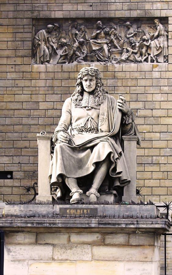 Statue de Jean Baptiste Colbert dans l'avant du nationale d'Assemblee à Paris photographie stock