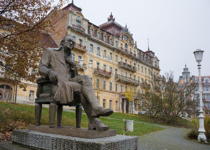 Statue de Johann Wolfgang Goethe dans Marianske Lazne, Czechia image libre de droits