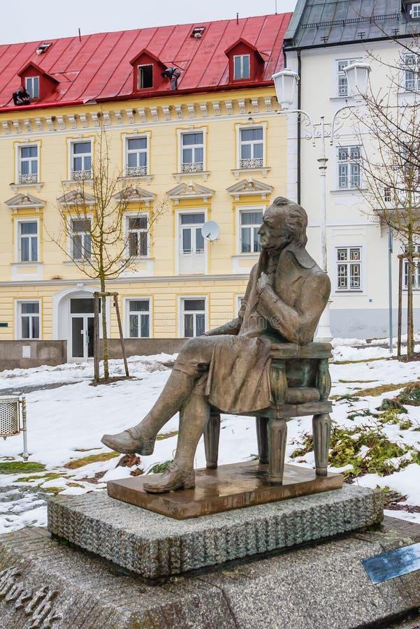 Statue de Johann Wolfgang Goethe, station thermale Marianske Lazne, republ tchèque photos libres de droits