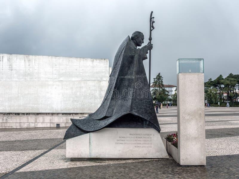 Statue de John Paul II au sanctuaire de Fatima au Portugal images libres de droits